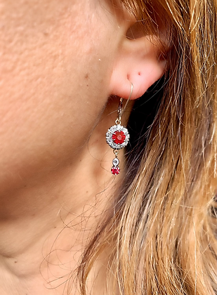 Art Deco Silver and Paste Flowerheads with dangle drop Ruby and Diamond