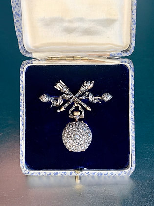 Victorian Diamond Pendant watch (working order) with brooch & oringal box