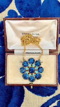 Vintage Royal Blue Pendant 16inch Gold filled chain