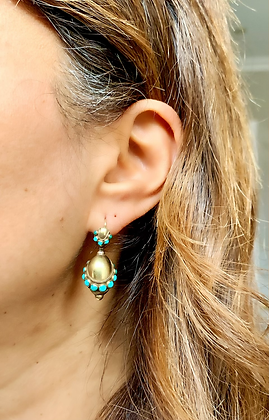Victorian c1860 Etruscan Revival Gold & Turquoise Earrings