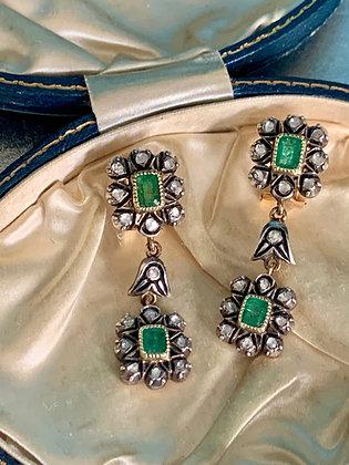 Victorian Emerald & Diamond Dangle Drop earrings