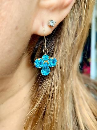 Vintage Peacock Blue Angle Earrings