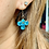 Thumbnail: Vintage Peacock Blue Angle Earrings