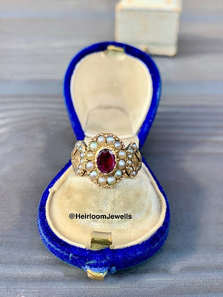 Early Victorian Pearl & Garnet 9ct Gold Dress Ring.
