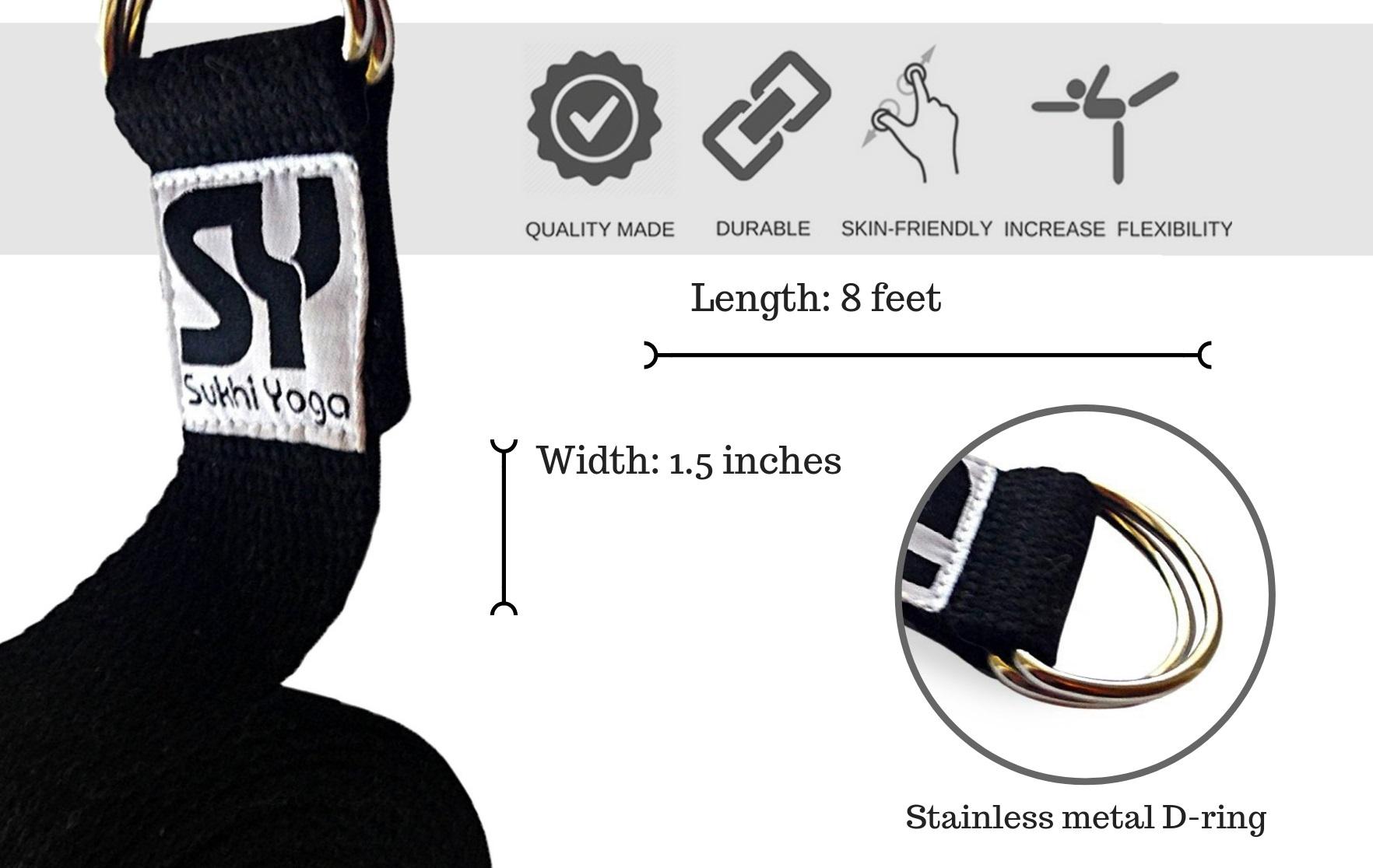 Black Yoga Strap Sukhi Yoga