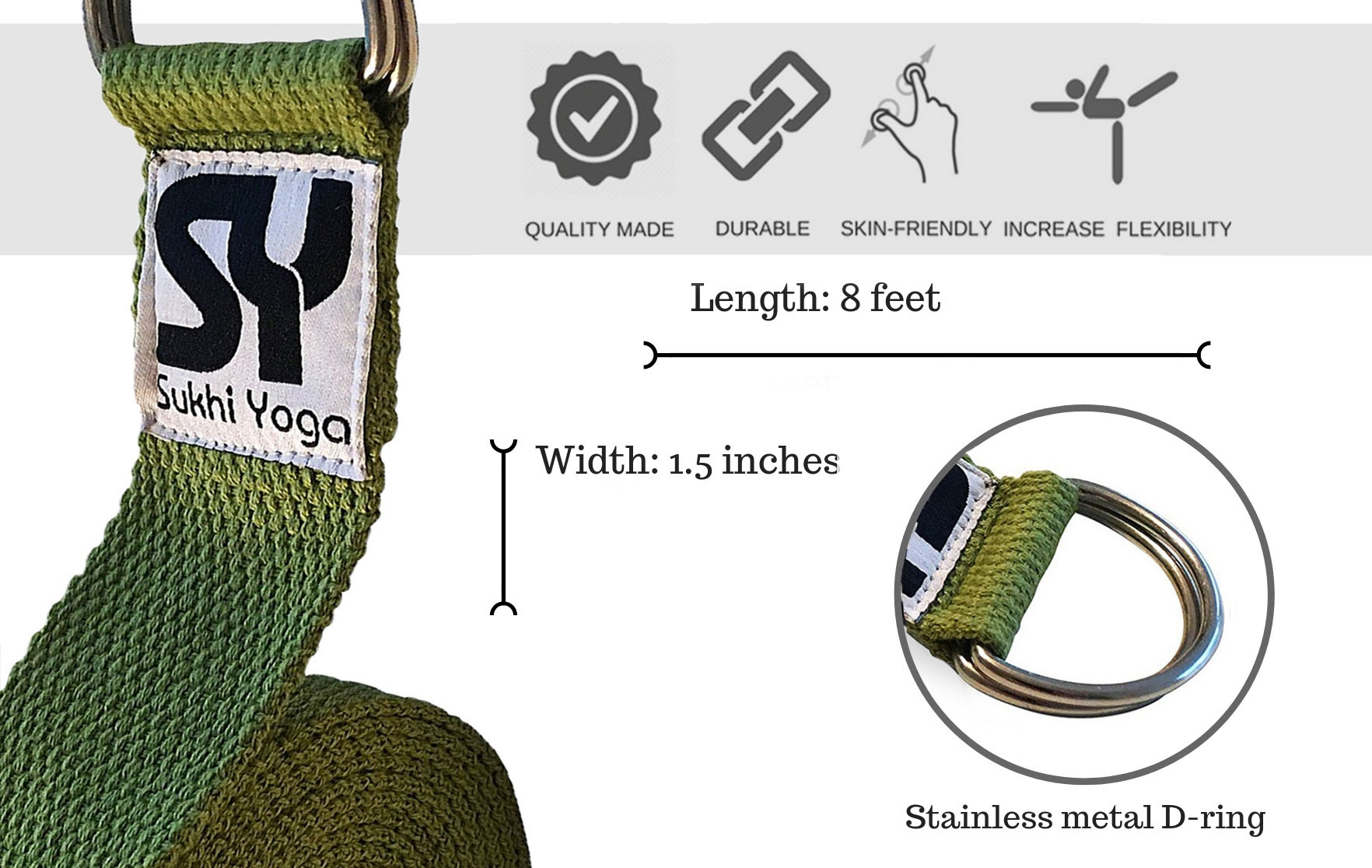Green Yoga Strap Sukhi Yoga