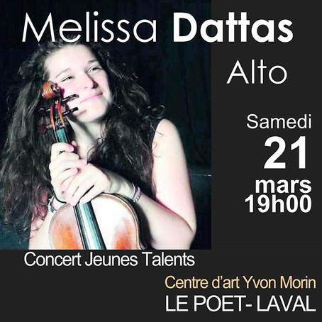 """Concert REPORTÉ /""""Jeunes Talents""""  Melissa DATTAS"""