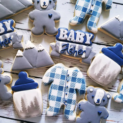 Mountain themed baby shower cookies