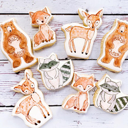 Watercolor woodland themed cookies