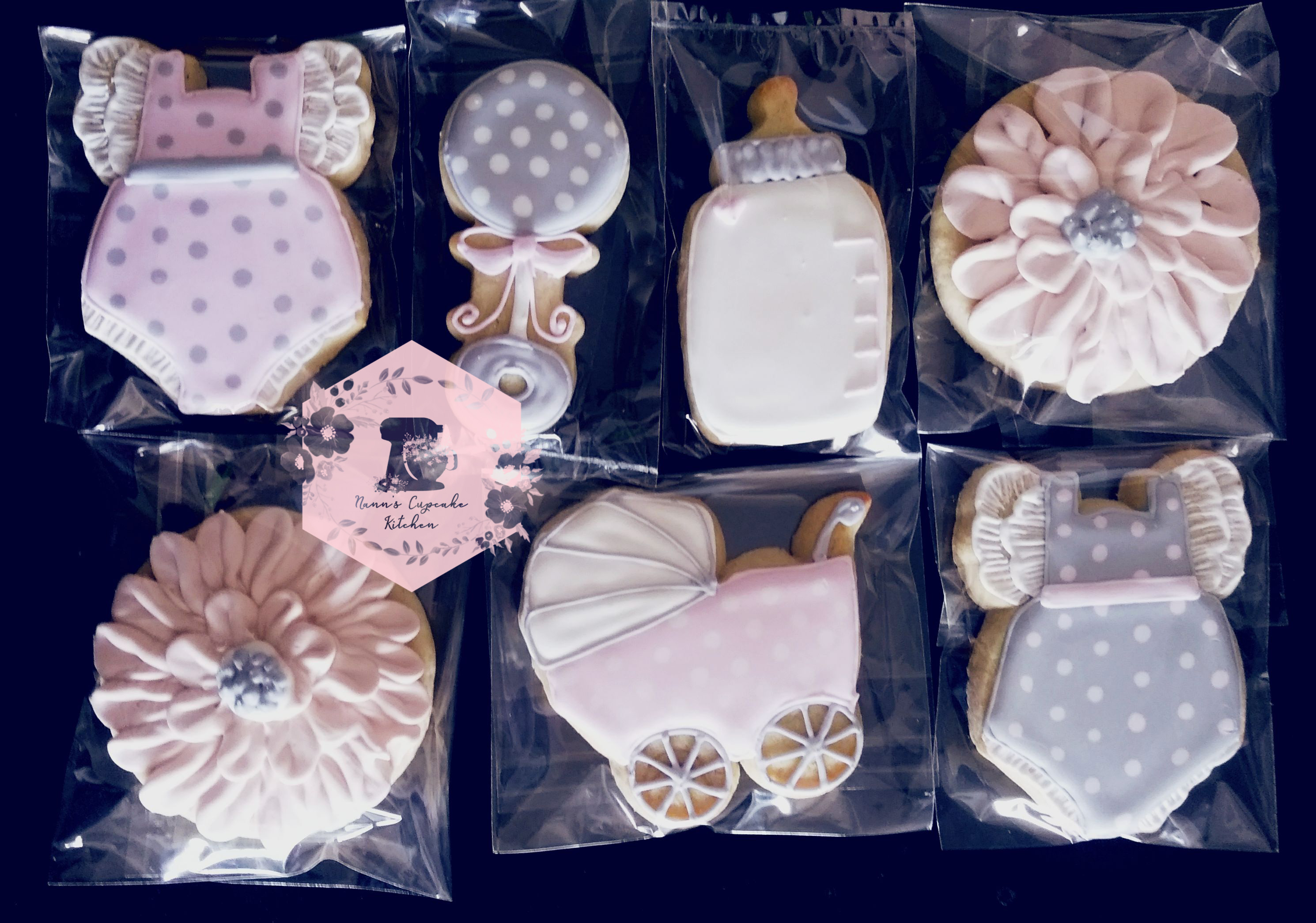 grey and pink baby shower cookies2