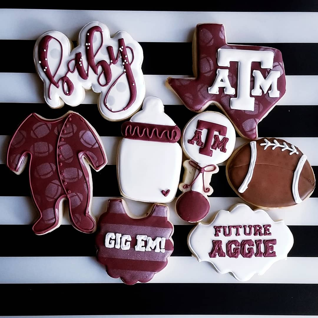 Aggies themed baby shower cookes