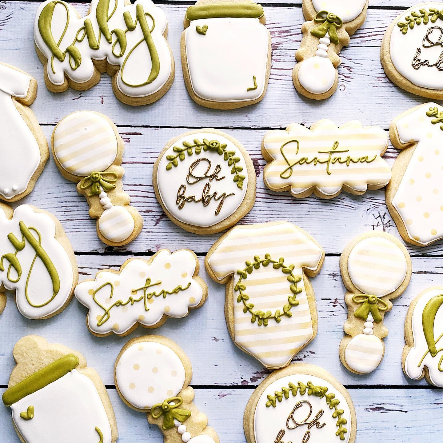 Greenery baby shower cookies
