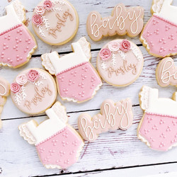 Pretty in pink floral baby shower cookies