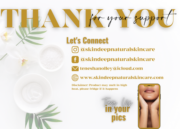 Skin Deep Natural Skincare THANK YOU Car