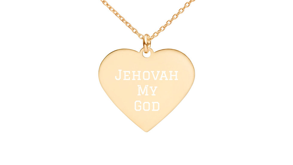 Jehovah My God Names Of God  Engraved Silver Heart Necklace