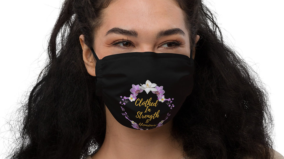 Clothed In Strength & Honour Proverbs 31:25 Premium face mask