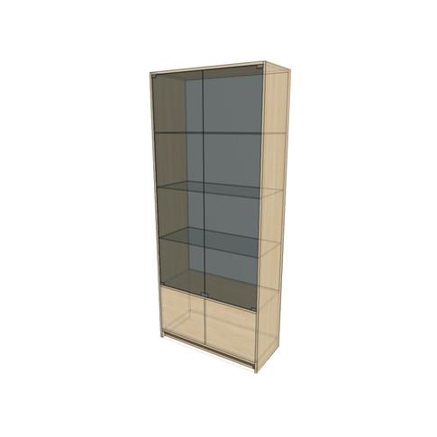 Стеллаж 900х400х2100 остекленный с дверями