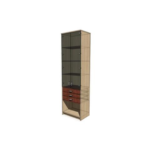 Стеллаж с полками и ящиками, стеклянные двери 600х400х2100