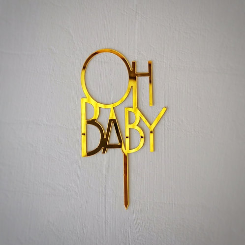 Cake Topper oh baby gold