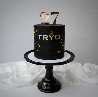 Tryo Sekt Torte schwarz gold