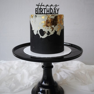 schwarz grau gold Torte Happy Birthday