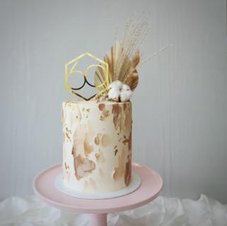 Torte beige Tupfen mit Trockenblumen