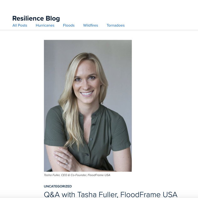 "Resilience Blog ""Q&A with Tasha Fuller, FloodFrame USA"""