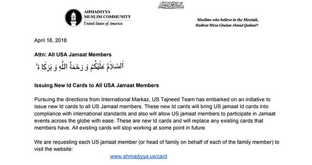 NY JAMA'AT] New Jama'at ID card printing for USA Jama'at members