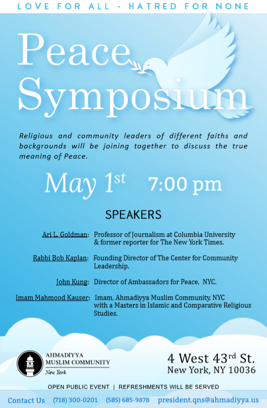 Open Public invitation to Peace Symposium - Wednesday, May 1st 2019 at 7:00 pm at 4 West 43rd Street