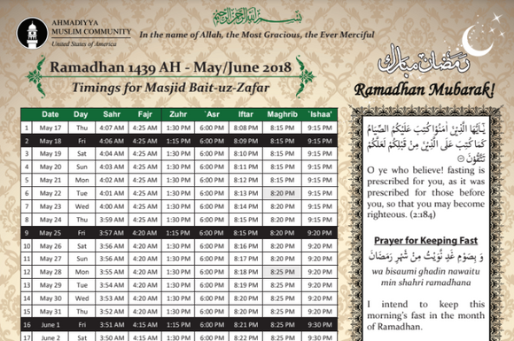 Ramadhan 1439 AH - May / June 2018 - Timings for Bait - Uz - Zafar