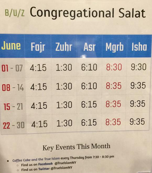 Salat Times Bait uz Zafar June 2017