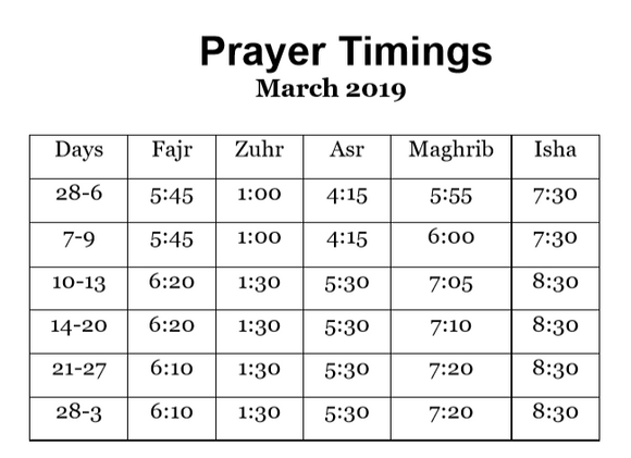 BaituzZafar Prayer Timings - March 2019