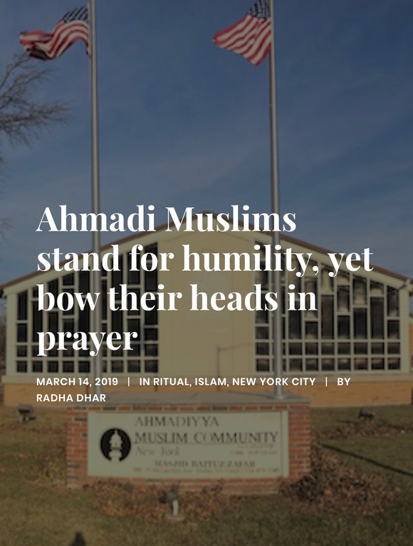 Ahmadi Muslims stand for humility, yet bow their heads in prayer