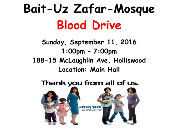 Blood drive at Bait-uz-Zafar on Sunday September 11, 2016 at 1:00 PM.