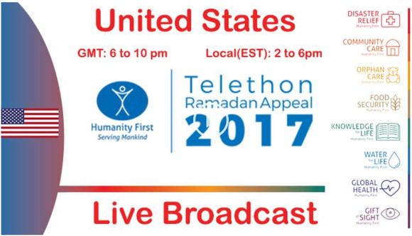 [NY JAMA'AT] Humanity First is holding its 2nd Global Telethon on Saturday, June 10th, 2017, bet