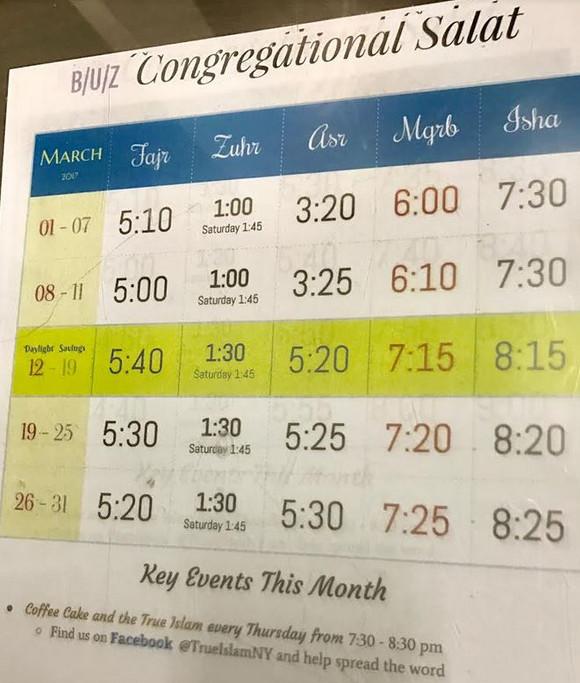 Bait uz Zafar - Congregational Salat Timings, March 2017