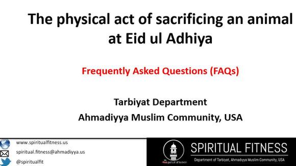 The physical act of sacrificing an animal at Eid ul Adhiya