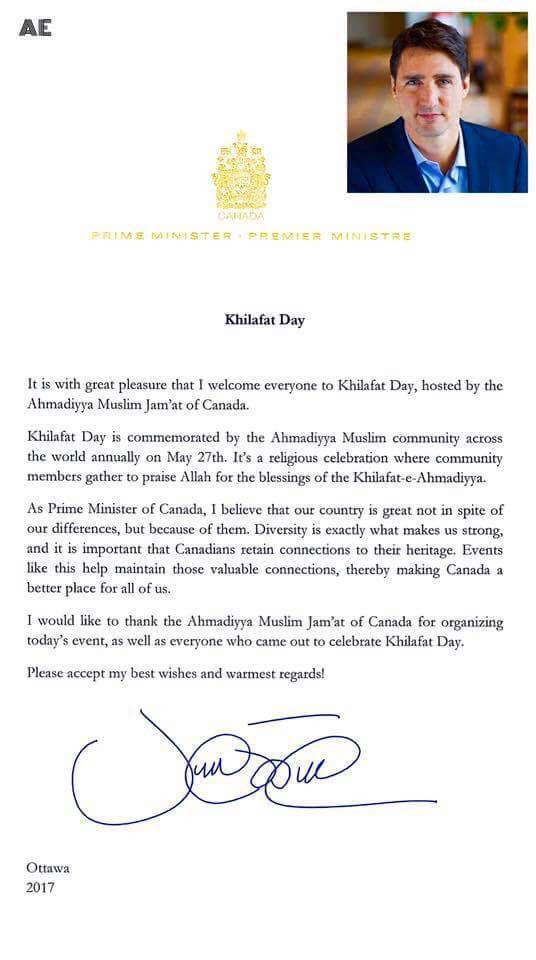 Khilafat Day Message from Justin Trudeau - Prime Minister of Canada