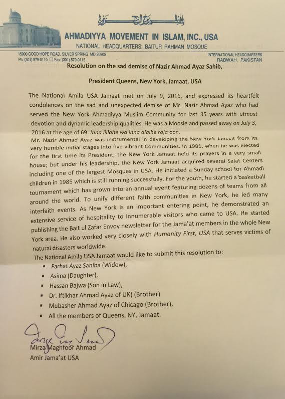 Letter from Amir Jama'at USA - Mirza Maghfoor Ahmad
