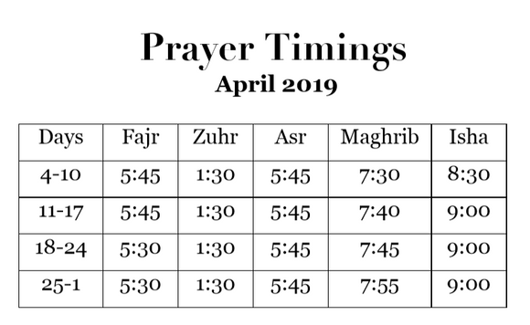 BaituzZafar Prayer Timings - April 2019
