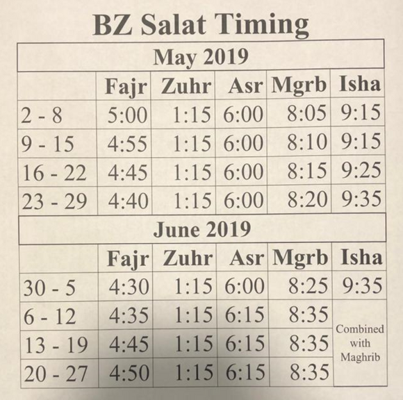 BaituzZafar Prayer Timings - May - June 2019