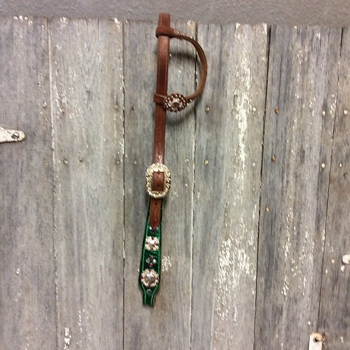 Green V.H. Handmade One Ear Headstall