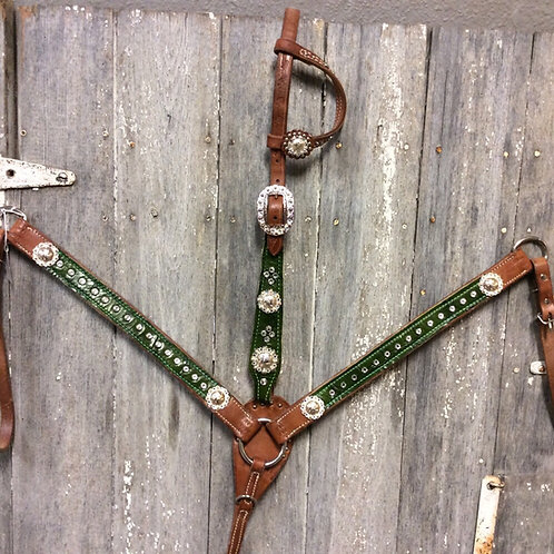 Green V.H. Handmade Tack Set