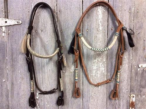 Rawhide Brow Band White w/ Horse Hair Tassels