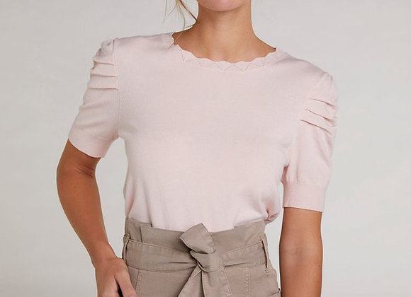 Pull manches courtes rose