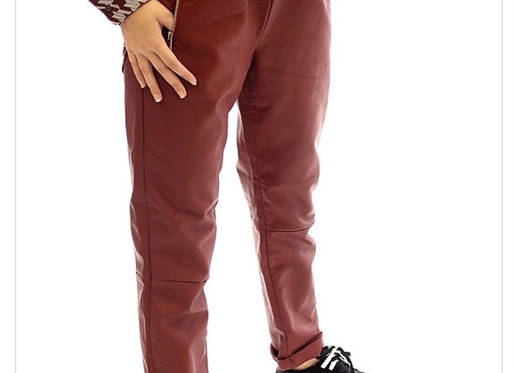 Pantalon PU rouge