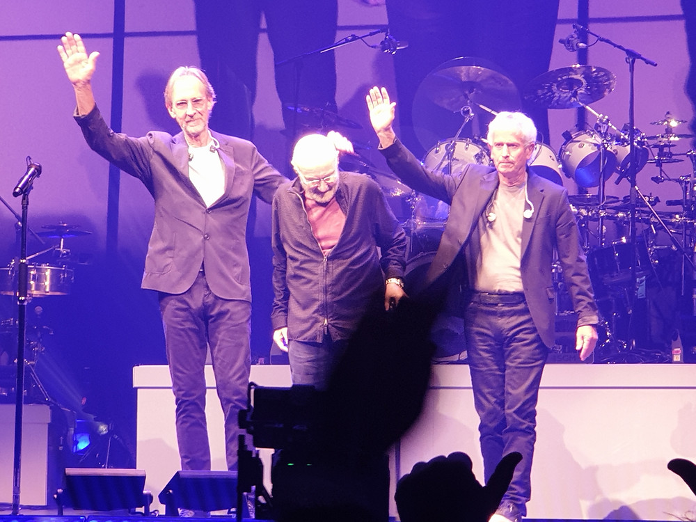 Genesis The Last Domino? Birmingham, image of Mike Rutherford, Phil Collins and Tony Banks(