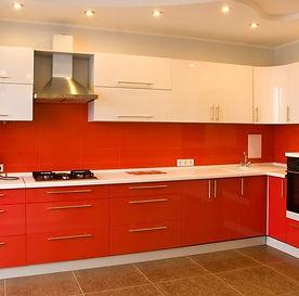 Кухня МДФ плёнка красный глянец+белый глянец