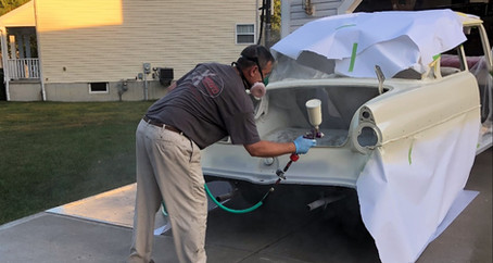 1955 Ford Part 25: Spraying Snowshoe White Tutone