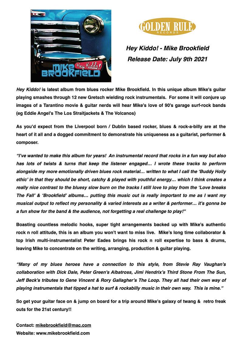 Press Release - Hey Kiddo! - Mike Brookf